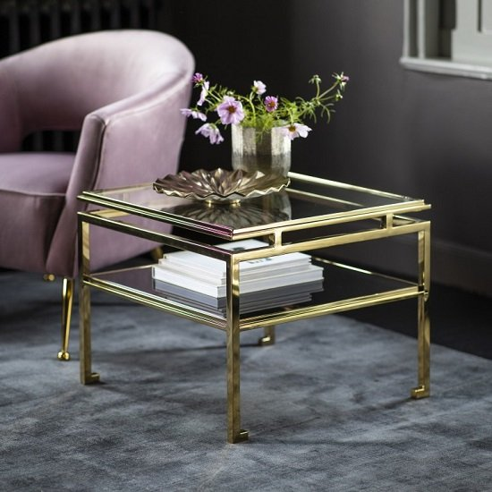 Medulla High Glass Side Table In Gold Finish Metal Frame