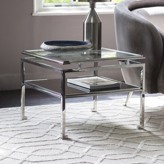 Medulla High Glass Side Table In Silver Finish Metal Frame