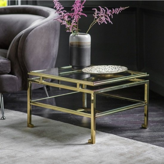 Medulla Low Glass Side Table In Gold Finish Metal Frame