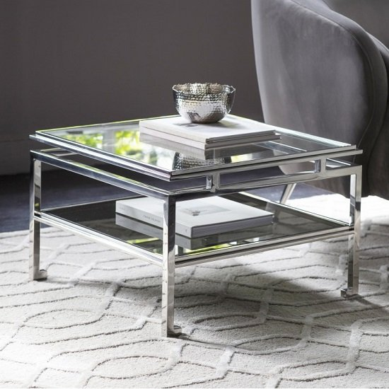 Medulla Low Glass Side Table In Silver Finish Metal Frame