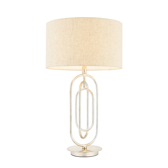 Meera Table Lamp In Taupe Fabric Shade