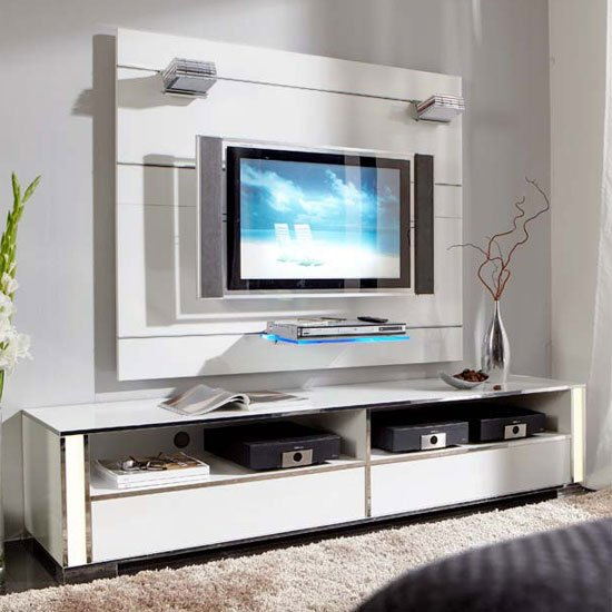 Lucent Express Gloss White Plasma Entertainment Stand