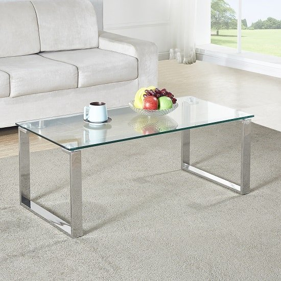 Megan Clear Glass Rectangular Coffee Table With Chrome Legs_1
