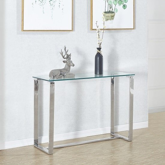 Megan Clear Glass Rectangular Console Table With Chrome Legs_1