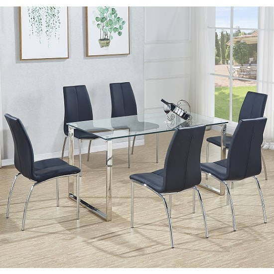 Megan Dining Table In Clear Glass With 6 Opal Black Chairs