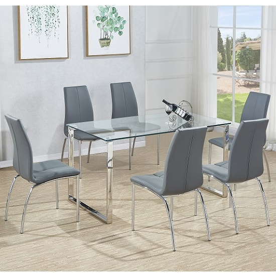 Megan Dining Table In Clear Glass With 6 Opal Grey Chairs