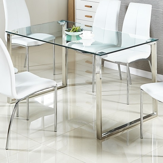 Megan Dining Table In Clear Glass With Chrome Base