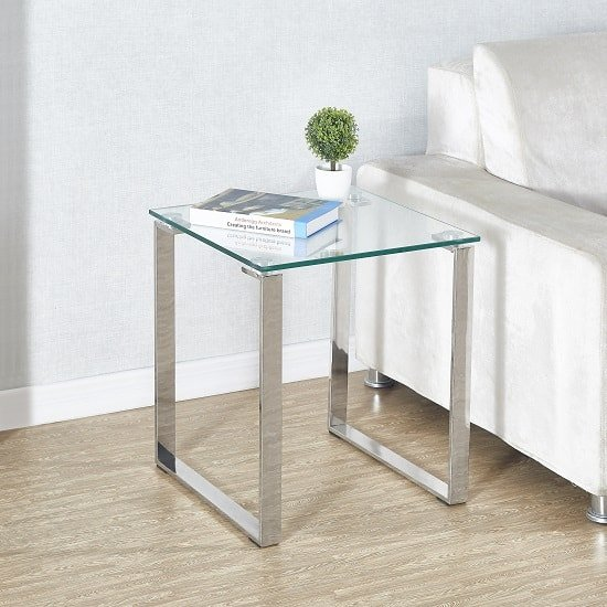 Megan Side Lamp Table In Clear Glass Top With Chrome Legs