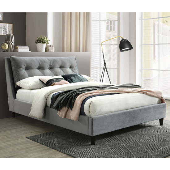 Megot Velvet Upholstered Double Bed In Grey