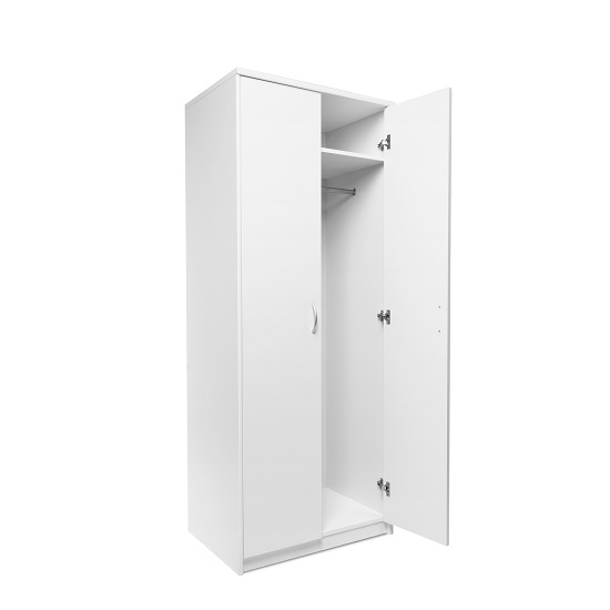 Meissen Wooden Wardrobe In White With 2 Doors_2
