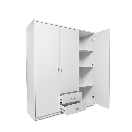 Meissen Wooden Wardrobe In White With 3 Doors And 2 Drawers_2