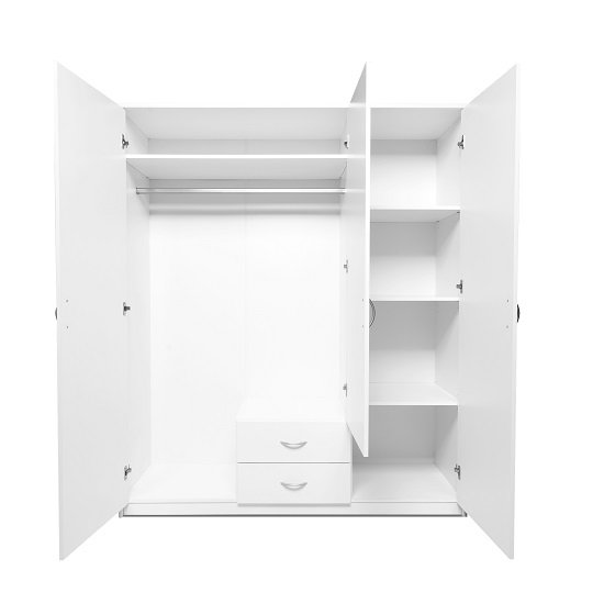 Meissen Wooden Wardrobe In White With 3 Doors And 2 Drawers_3