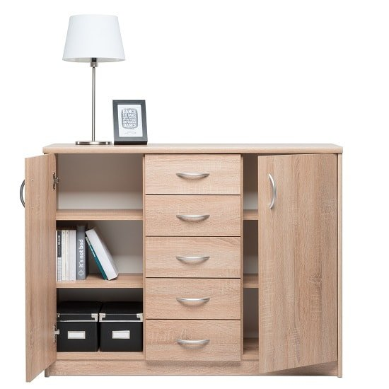 Meissen Sideboard In Sonoma Oak With 2 Doors And 5 Drawers_2