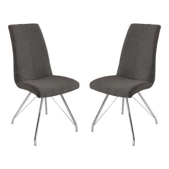 Mekbuda Dark Grey Fabric Upholstered Dining Chair In Pair