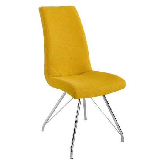 Mekbuda Fabric Upholstered Dining Chair In Yellow