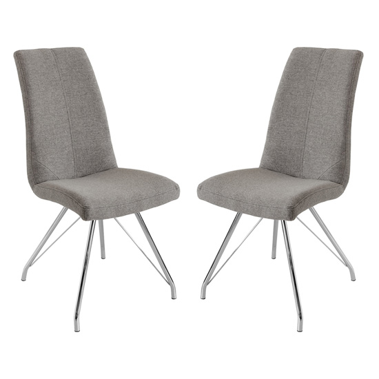 Mekbuda Grey Fabric Upholstered Dining Chair In Pair