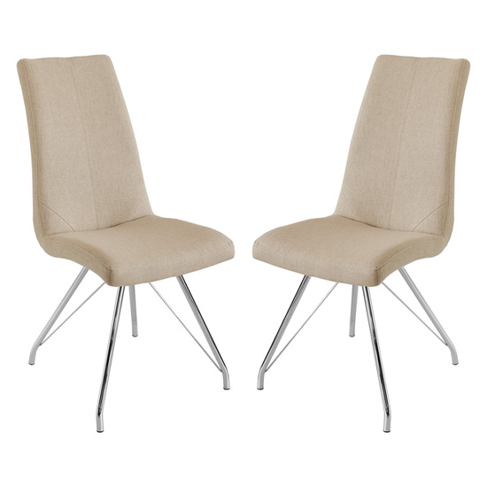 Mekbuda Taupe Fabric Upholstered Dining Chair In Pair