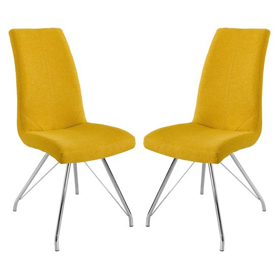 Mekbuda Yellow Fabric Upholstered Dining Chair In Pair