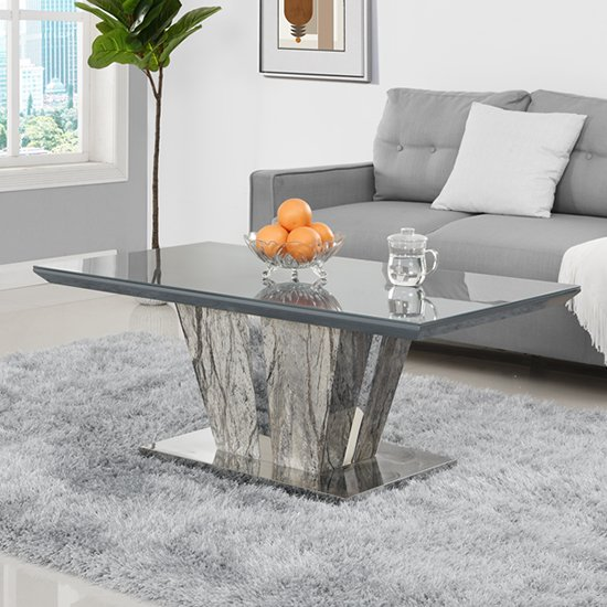 Melange Coffee Table In Gloss with Grey Glass Top