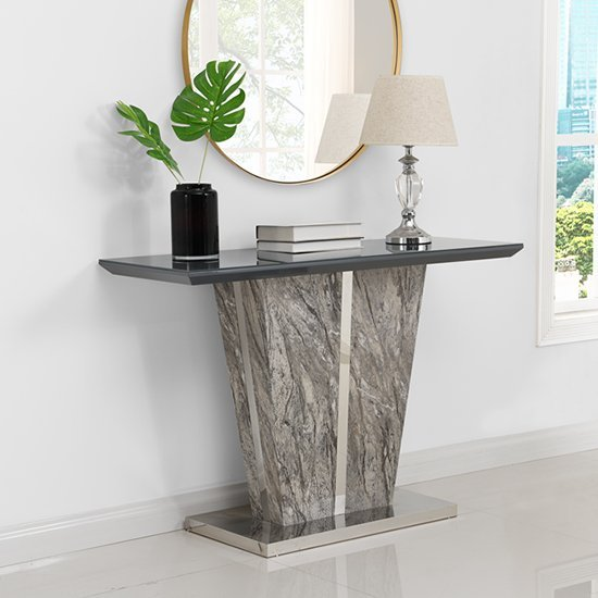 View Melange console table in gloss with grey glass top