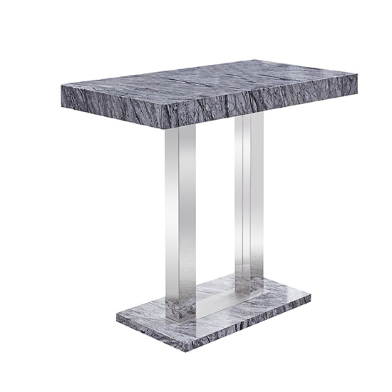 Melange Dark Grey Marble Effect High Gloss Bar Table_2