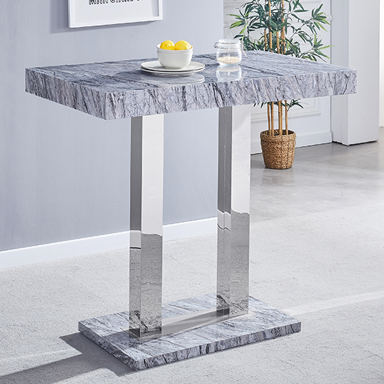 Melange Gloss Marble Effect Bar Table And 4 Candid Black Stools_2