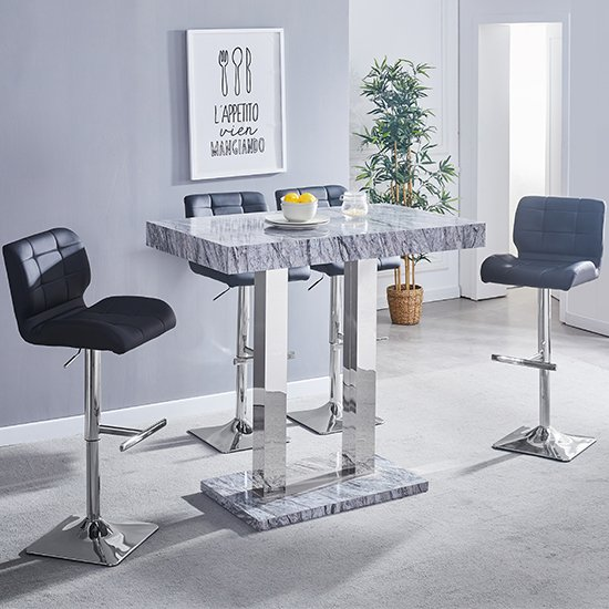 Melange Gloss Marble Effect Bar Table And 4 Candid Black Stools