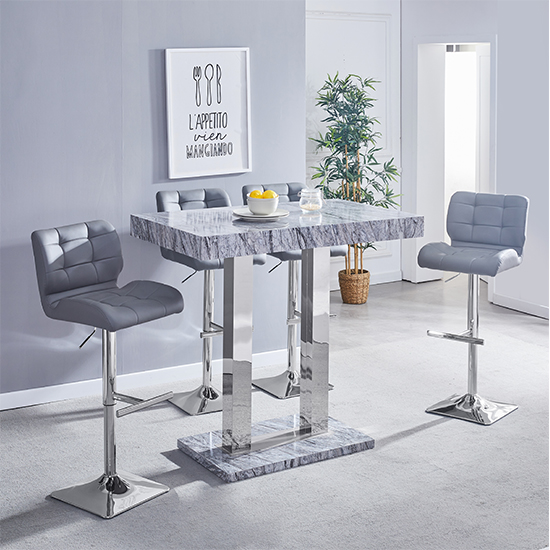 Melange Gloss Marble Effect Bar Table And 4 Candid Grey Stools