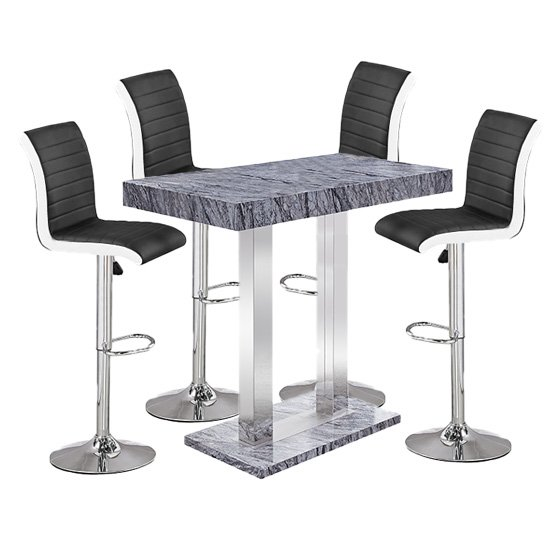 Melange Gloss Marble Effect Bar Table With 4 Ritz Black White Bar Stools