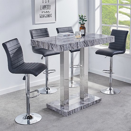 Melange Gloss Marble Effect Bar Table And 4 Ripple Black Stools