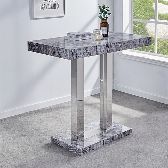 Melange Gloss Marble Effect Bar Table And 4 Ripple Grey Bar Stools_2