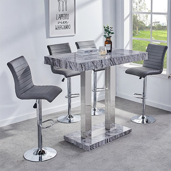 Melange Gloss Marble Effect Bar Table And 4 Ripple Grey Bar Stools_1