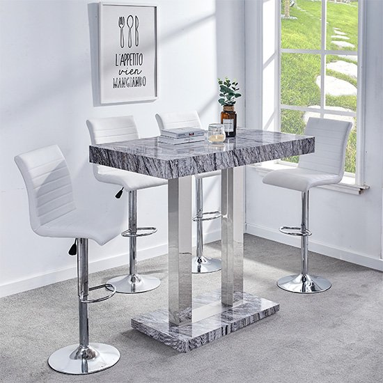 Melange Gloss Marble Effect Bar Table And 4 Ripple White Stools