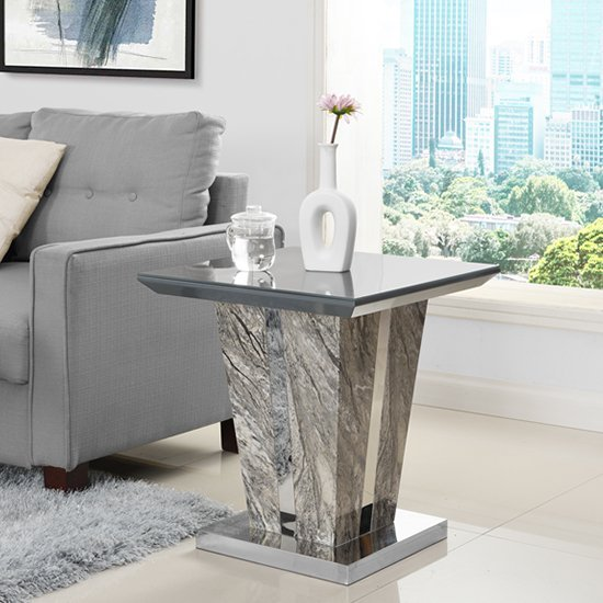 Melange Lamp Table In Gloss with Grey Glass Top
