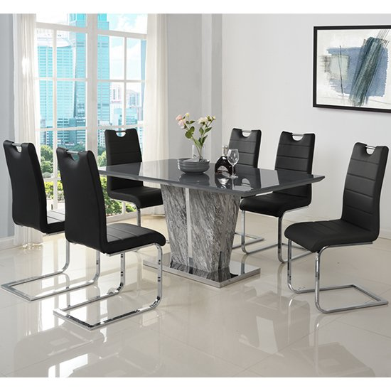 Melange Large Grey Glass Dining Set With 6 Black Petra Chairs