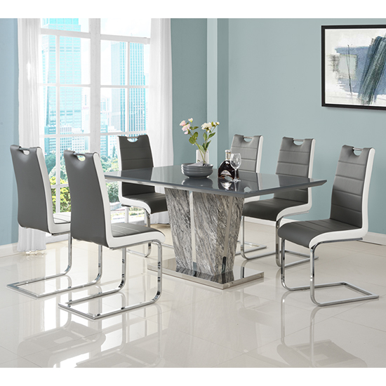 Melange Large Grey Glass Dining Set With 6 Petra Chairs