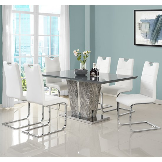 Melange Large Grey Glass Dining Set With 6 White Petra Chairs