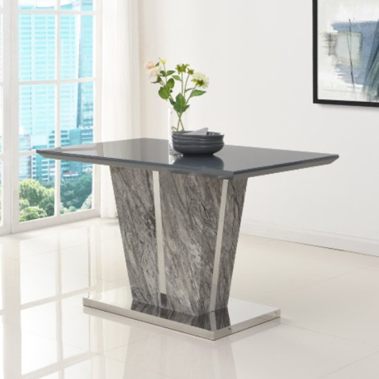 Melange Small Dining Table In Gloss with Grey Glass Top_1