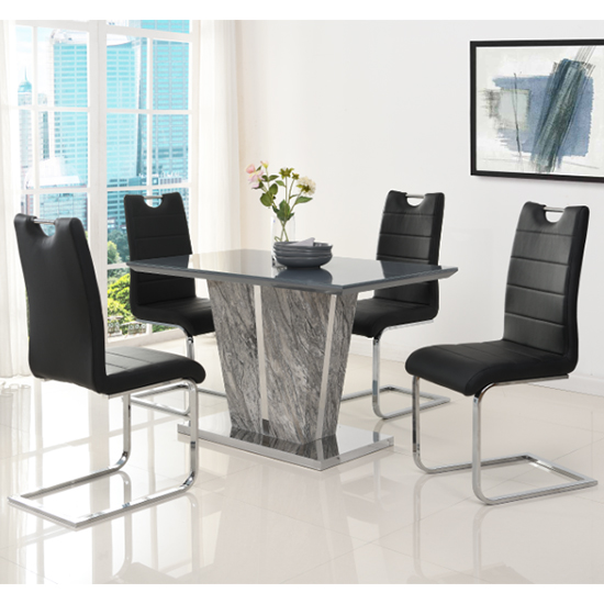 Melange Small Grey Glass Dining Set With 4 Black Petra Chairs