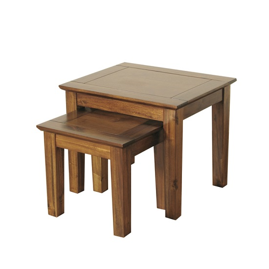 Melania Wooden Nest Of 2 Tables In Solid Acacia