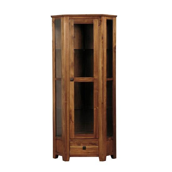 Melania Wooden Corner Display Cabinet In Solid Acacia