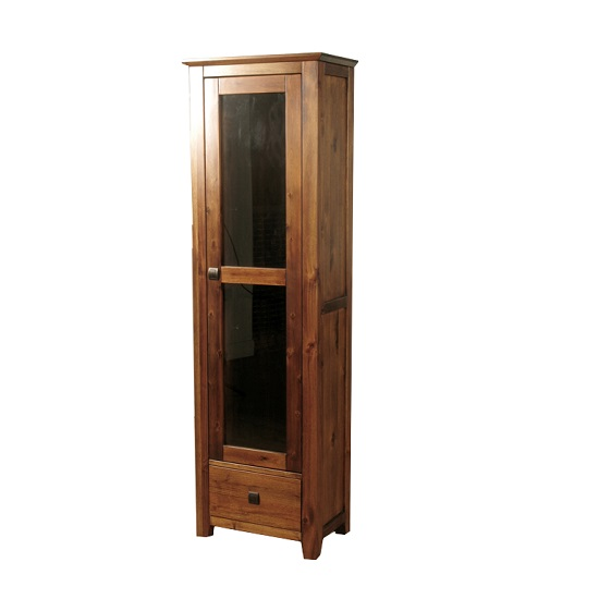 Melania Wooden Display Cabinet In Solid Acacia With 1 Door