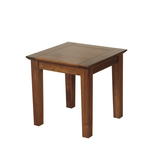Melania Wooden End Table Square In Solid Acacia