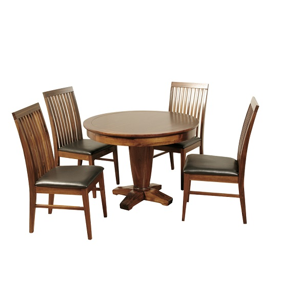 Melania Wooden Dining Table Round In Solid Acacia With 4 Chairs