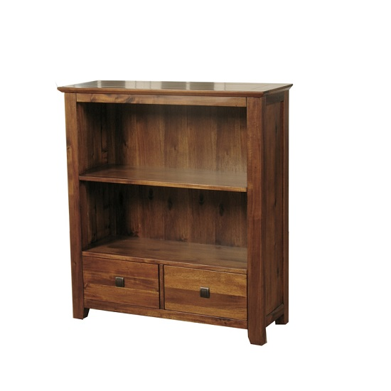 Melania Wooden Small Bookcase In Solid Acacia With 2 Drawers