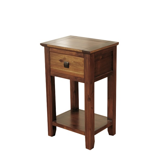 Melania Wooden Telephone Table In Solid Acacia With 1 Drawer