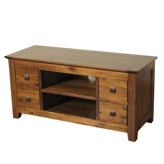 Melania Wooden TV Stand In Solid Acacia With 4 Drawers