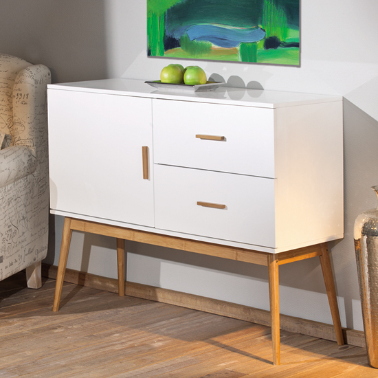 Melanie Wooden Sideboard With Drawers In White And Bamboo
