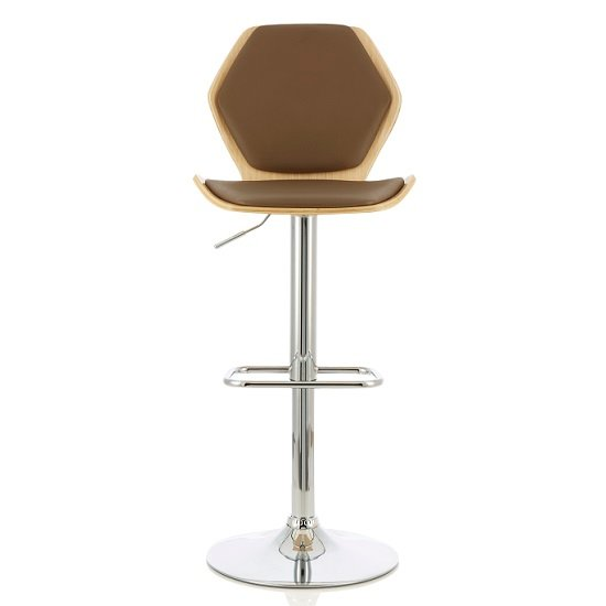 Melanie Bar Stool In Oak And Beige PU With Chrome Base