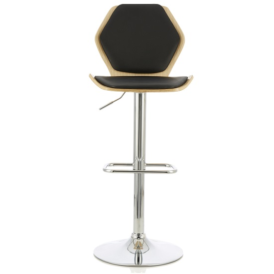 Melanie Bar Stool In Oak And Black PU With Chrome Base